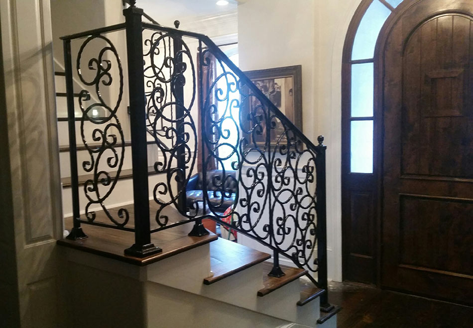 Angled View   Ornate Staircase Railing